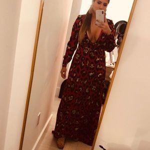 SHEIN Leopard Print Wrap Maxi Dress